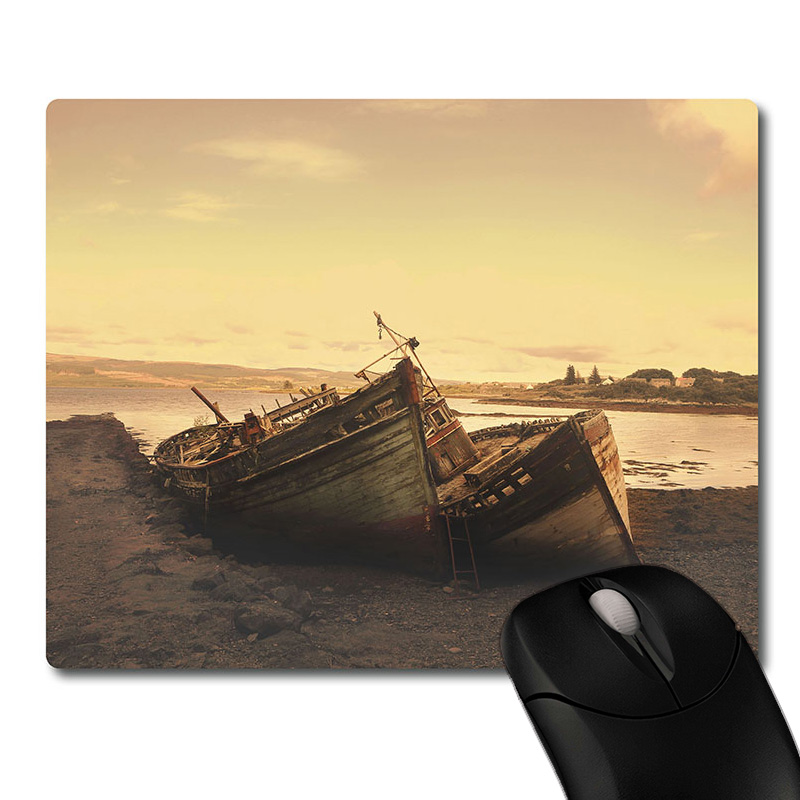 Worn wooden boats on the coast printed Heavy weaving anti-slip rubber pad office mouse pad Coaster Party favor gifts 220x180x3mm