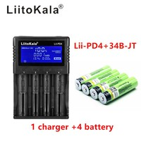 1 piece LiitoKala lii PD4 LCD 3.7V 18650 21700 battery charger + 4 pieces 3.7V 18650 3400mAh INR18650 34B li ion rechargeable