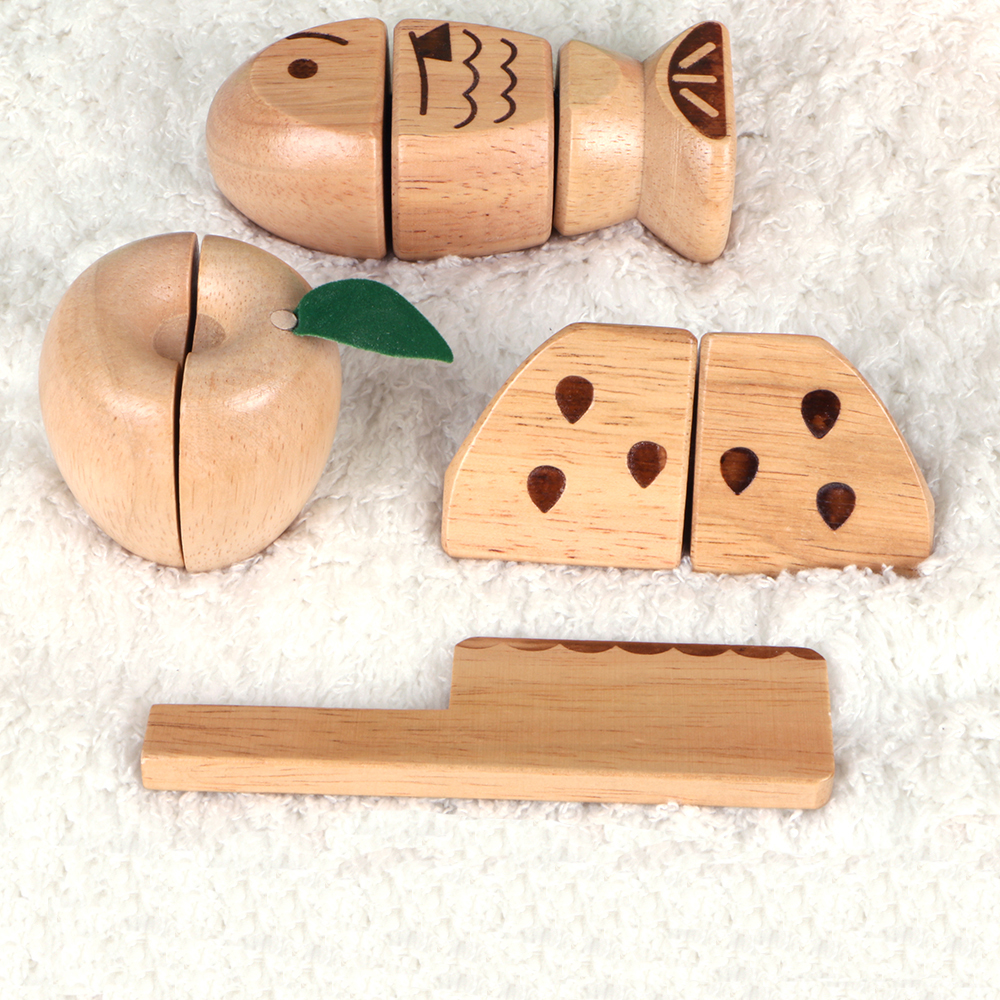 MamimamiHome Baby Montessori Food Toy Wooden Fruit Fish Wooden Role Play Simulation Early Education Toys Kid's Kitchen Toys