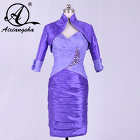 2018 Knee Length Half Sleeve Big Size purple Groom Mother of the Bride Dresses with Jacket Godmother Dress