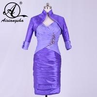 2018 Knee Length Half Sleeve Big Size purple Groom Mother of the Bride Dresses with Jacket Godmother Dress