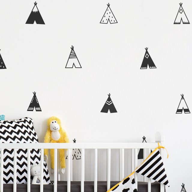 Nordic Style Teepee Vinyl Wall Sticker Nursery Decor , Modern Kids Bedroom Wall  Decals Cute Tribal