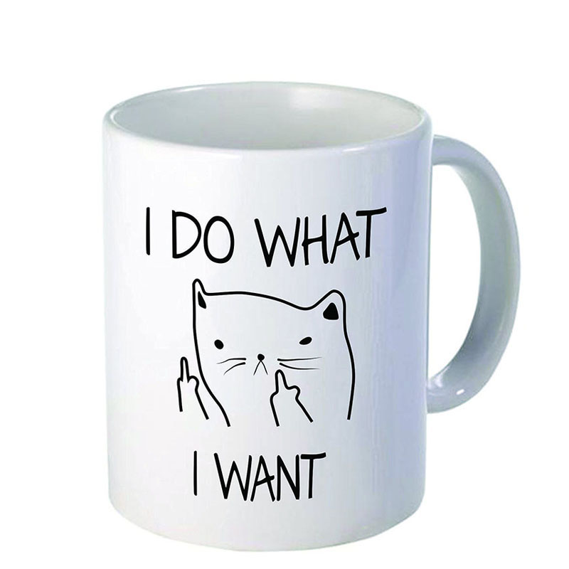 Ceramic Creative Cat Coffee Mug Funny Cat I DO WHAT I WANT Middle Finger Mugs For Coffee Tea Milk Cups Microwave Novelty Gifts