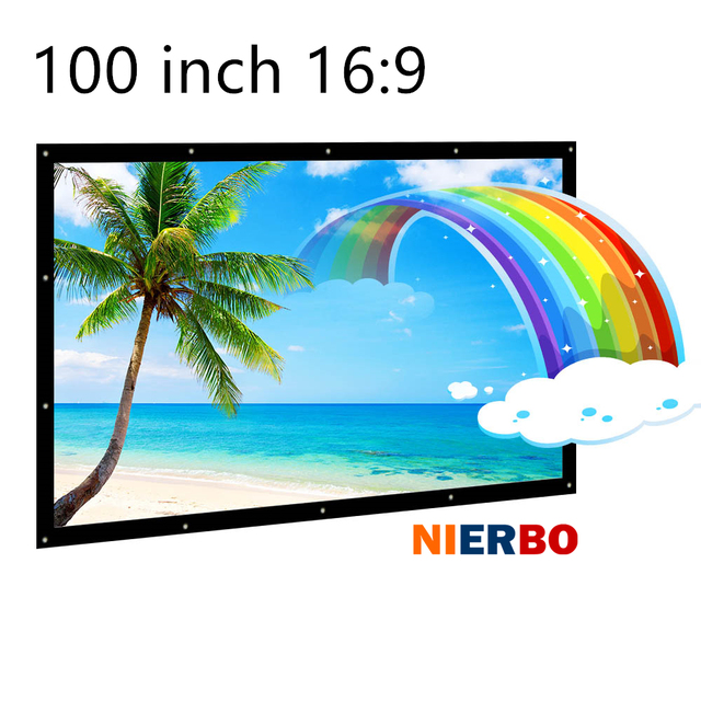"""High Definition 100"""" Clear 3D Soft Projection Canvas Projector screen 4:3/16:9 Foldable Screen for Outside Home Cinema Movies"""
