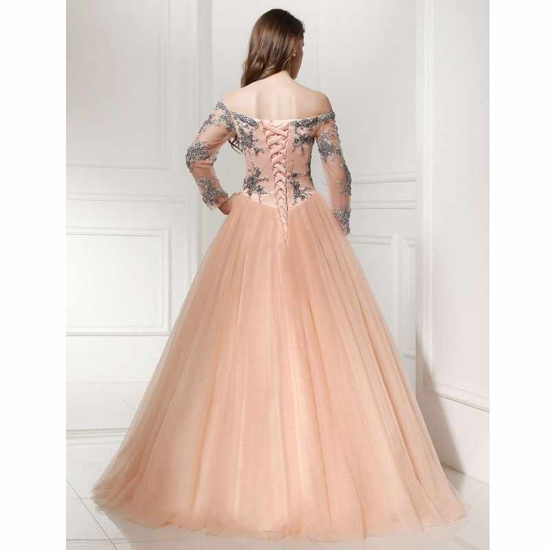 920e635f75 ... Prom Dress 2018 SoDigne Vintage Tulle Peach Color Evening Dress Long  Sleeve Off The Shoulder Lace ...