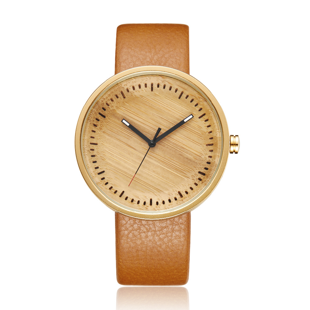 Women Men Bamboo Wood Watch Mens Women's Wooden Wristwatch Leather Retro Couple Watch Clock Reloj De Madera Relogio Masculino