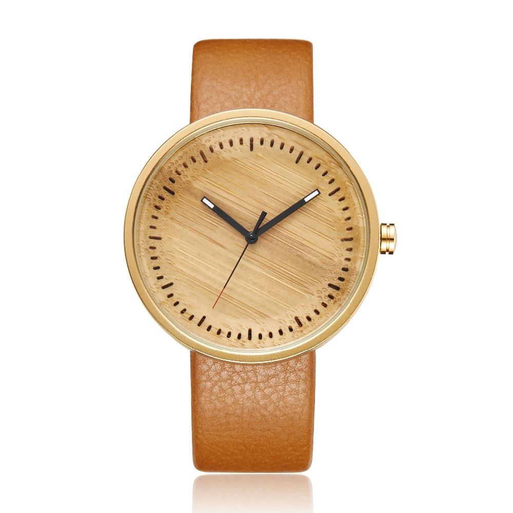 Women Men Bamboo Wood Watch Mens Women's Wooden Wristwatch Leather Retro Couple Watch Clock Reloj De Madera Relogio Masculino