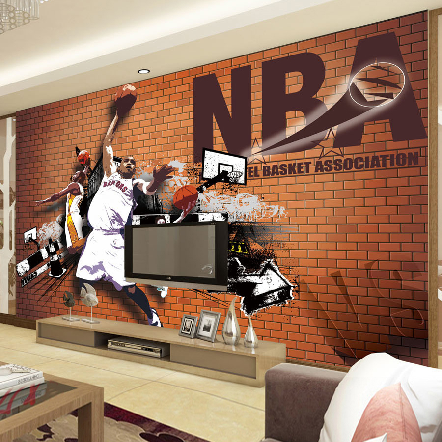 3d poster design online - Custom 3d Poster Wallpaper Basketball Dunk Photo Background Brick Wall Decoration Living Room Sofa Backdrop Wall