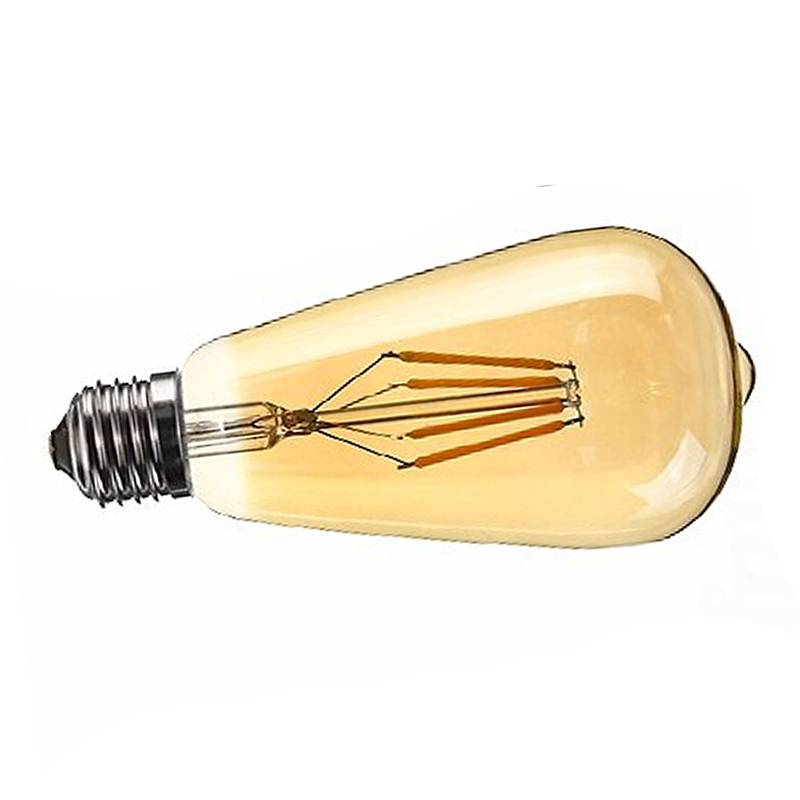1 PC E27 4W Edison Retro Vintage Filament ST64 COB LED Bulb Light Lamp Body Color Golden Cover Light Color Gold Yellow 22 in LED Bulbs Tubes from Lights Lighting