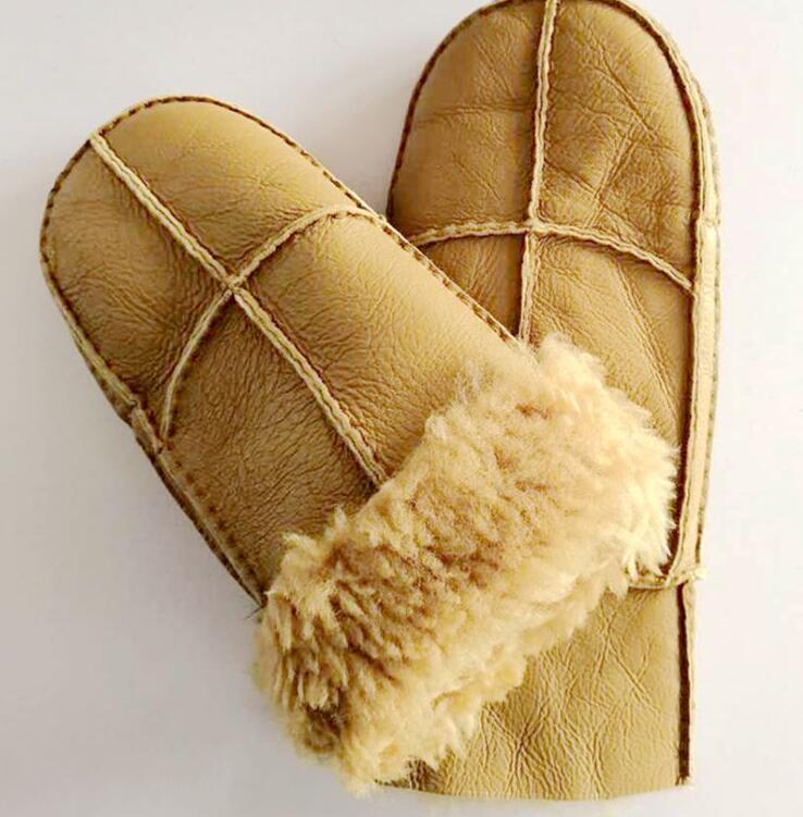 Men's Winter Thicken Warm Fleece Lining Natural Leather Glove Male Genuine Leather Driving Mitten Skiing Glove R652