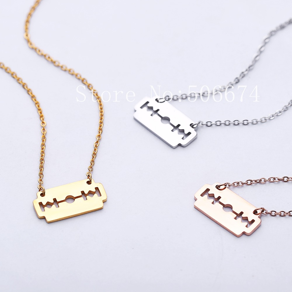 Cool stainless steel razor blades charm pendant necklaces men cool stainless steel razor blades charm pendant necklaces men jewelry steel male shaver shape necklaces pendants free chain in pendant necklaces from mozeypictures Images