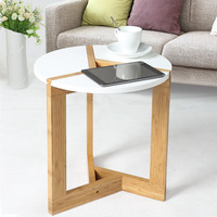 Modern Assembly Bamboo Side Living Room Sofa Tea Home DIY Wooden Craft White Coffee Table Nordic Fashion Round Table