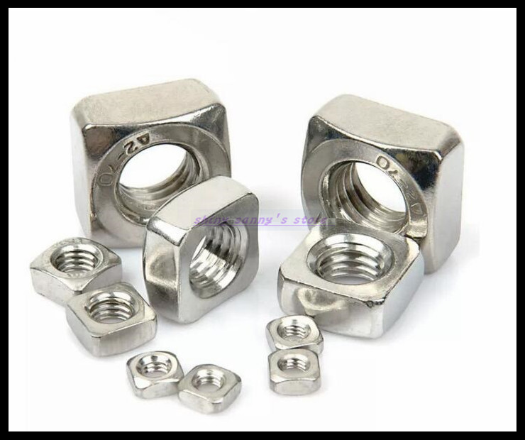 Metric Thread DIN557 M3 M4 M5 M6 M8 M10 304 Stainless Steel Square Nut Screw Nut Square Nuts Hardware Nut A2-70 Brand New 10pcs din582 m3 m4 m5 m6 m8 m10 m24 304 stainless steel marine lifting eye nut ring nut thread hw108