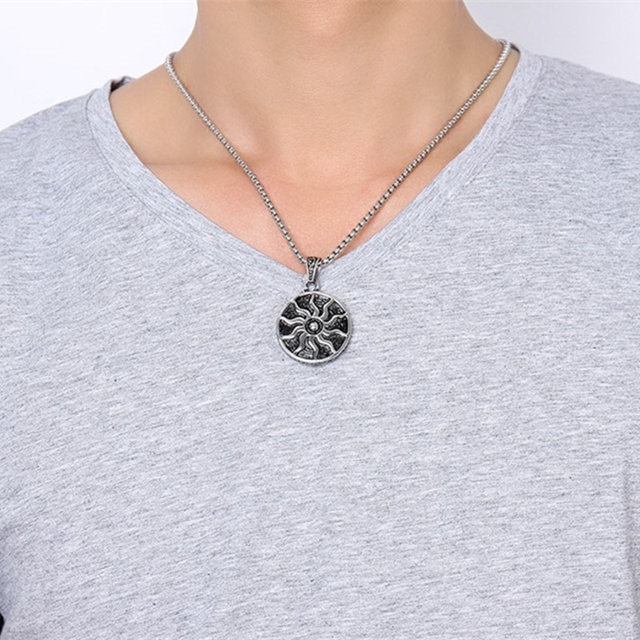Online shop high quality 35mm sun stainless steel pendant necklace high quality 35mm sun stainless steel pendant necklace length 60cm pearl chain for men hip hop rock punk jewelry vintage aloadofball Image collections
