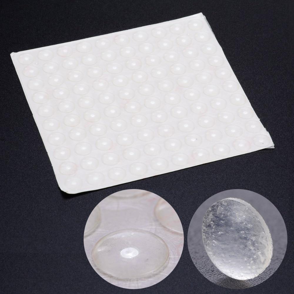 Almohadillas de amortiguación de puerta autoadhesivas, 100 Uds., almohadillas de goma de silicona para los pies, cajones de armario, protectores transparentes con forma de semicírculo, accesorios de puerta de muebles