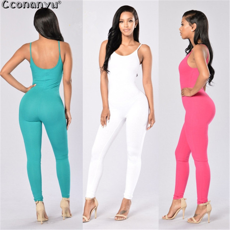 Long   Jumpsuit   for Women 2019 Round Neck Sexy Casual Summer Backless Sportswear   Jumpsuits   Green White Slim Solid Color