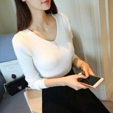 OHCLOTHING 2019 NEW fall fashion sweater collar female long sleeved V slim slim shirt sleeve head stretch sweater coat цены