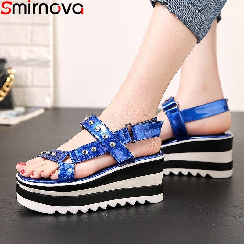 Smirnova 2019 nouvelles sandales d'été boucle plate-forme dames chaussures confortables sandales à talons compensés décontracté plate-forme plate sandales femme