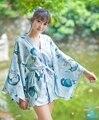 Japón estilo gato estampado Kimono chaqueta mujer suelta suave Yukata Haori capa Outwear tapas un tamaño
