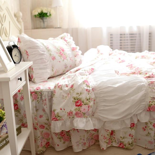 Rosa rosa volantes de encaje princesa juegos de cama, algodón de la muchacha gem