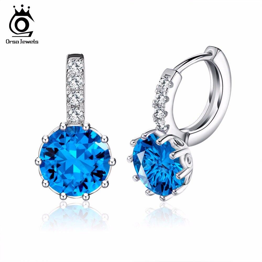 ORSA JEWELS Luxury AAA Austrian Blue Austrian CZ Crystal Earring Party Lead & Nickel Free Earring for Ladies OE89