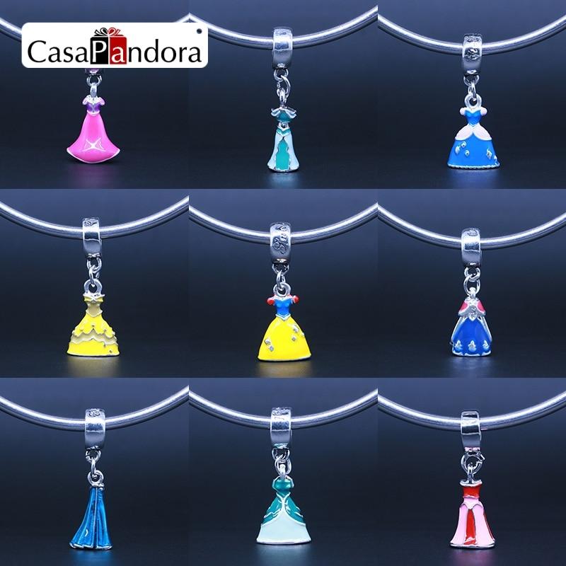 CasaPandora Skirt Cinderella Snow White Princess Anna Belle Princess Elsa Princess Ariel Fit Pandora Bracelet Charm DIY Pendant ...