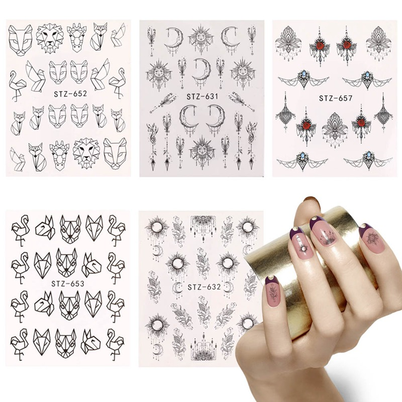 24 Types 2Pc/Set White Black Nail Stickers Water Transfer Decals Lace Flowers Butterfly Slider For Nail Art Decoration Manicure