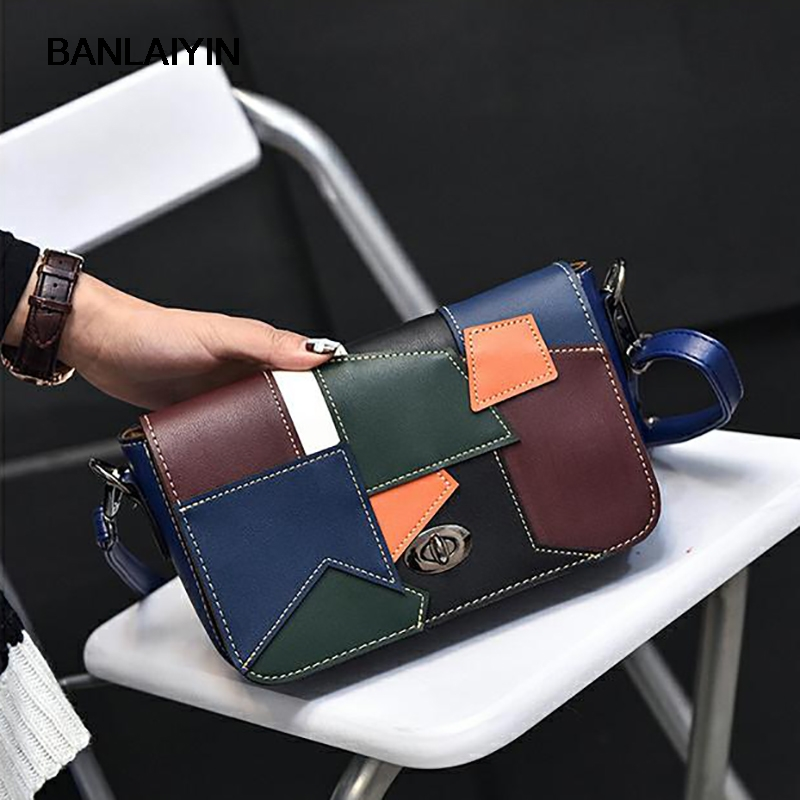 Summer Nice Fashion Casual Women Single Shoulder Bags Patchwork Hit Color Handbags Vintage Retro Women Crossbody Messeger Bag