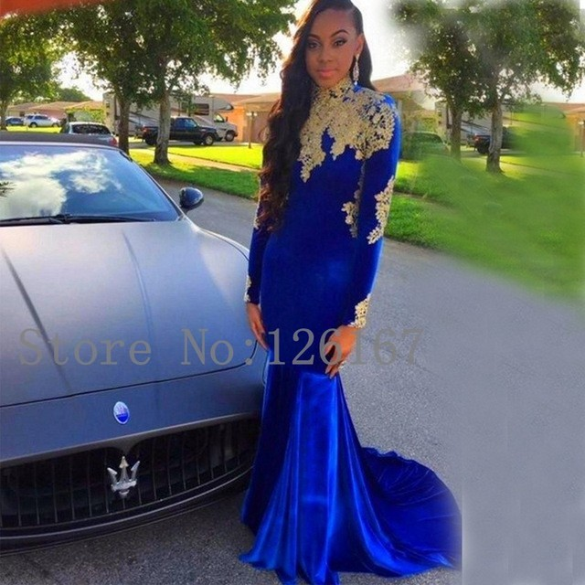 2017 High Neck Open Back prom dress Gold Appliques Long Sleeves ...