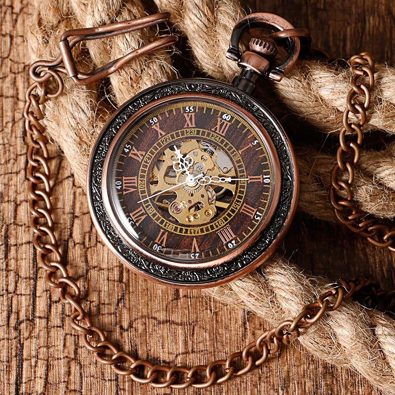mecânica mão vento bolso relógio unisex presente