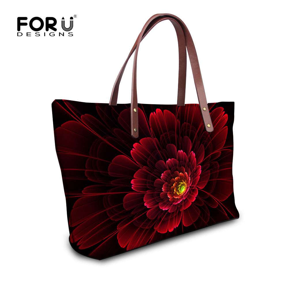 FORUDESIGNS Floral Printed Shoulder Bags Women Large Capacity Female Shopping Bag Summer Ladies Beach Handbag Blosas Feminina forudesigns casual women handbags peacock feather printed shopping bag large capacity ladies handbags vintage bolsa feminina