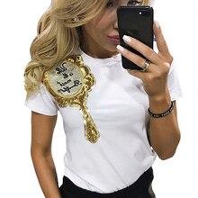 Spring Summer T Shirt Women Fashion Sequin Mirror Short Sleeve T-Shirts O-neck elegant cute Tops Blusa
