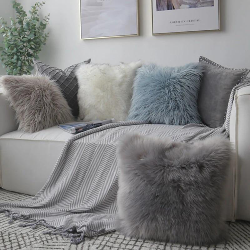 drop ship faux fur pillow cover square sequin pink grey blue cushion cover home decor sofa pillow decorative