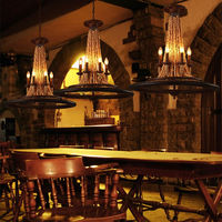 Vintage Wheel Solid Wood Pendant Lamp Hanging Lights LOFT Lamp Wood Lamp luminaria For Industrial decor light fixtures