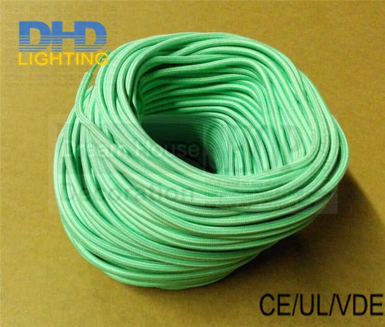 Free shipping 100meter 3 cores Mint color fabric wire 3*0.75mm vintage fabric electrical cable cord for edison lamp cloth cable