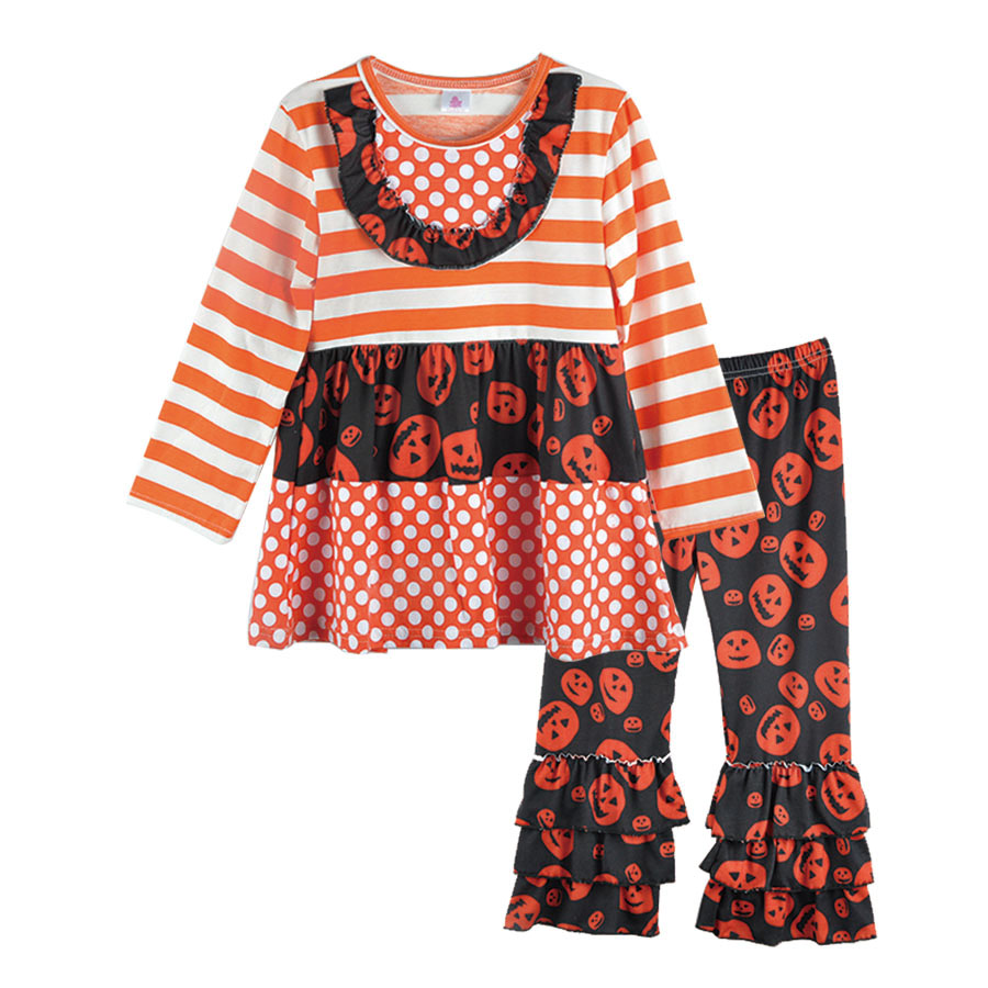 hot sell girl clothes set 2017 new style halloween orange striped skull dress outfit costume suppliers wholesale h023