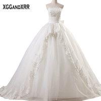 Hot Sale Tulle Ball Gown Wedding Dresses 2018 Strapless Appliques Sexy Backless Bridal Dresses Off Shoulder Vestido De Noiva