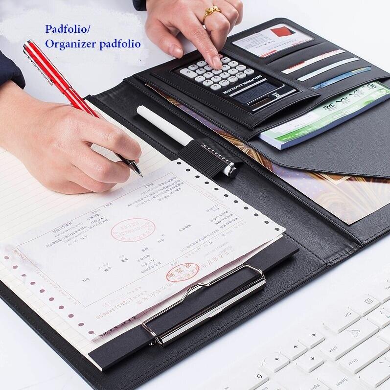 Bloc-notes organisateur de bureau multifonction pour ordinateur portable avec étuis à billets/billets en cuir PU avec bloc-notes A4