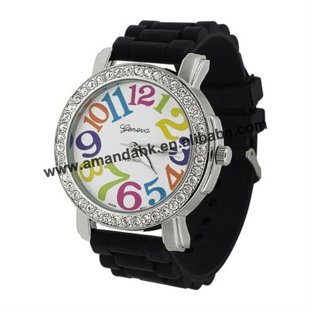 65pcs/lot, big number silicone wrist watch,black & white color available,high quality crystal watch.