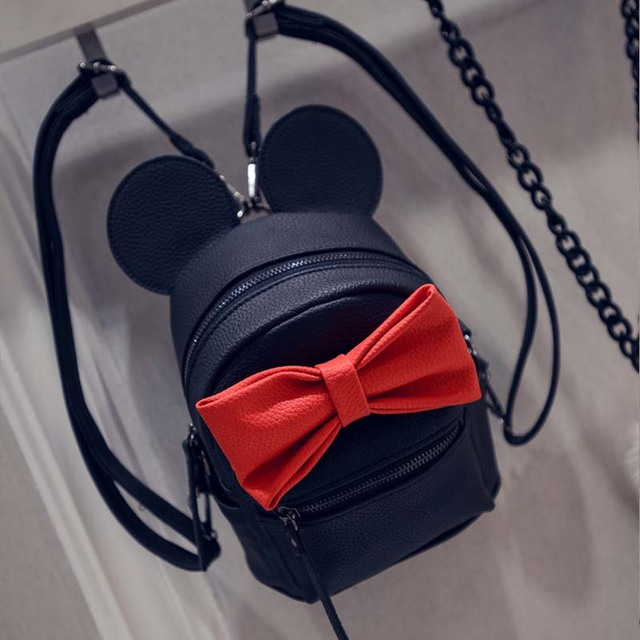 2017 New Mickey Backpack with Ears for Kids Women's PU Leather High Quality Mini School Bag Preppy style Girls Mochila Cartoon