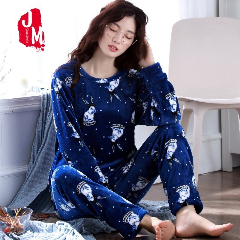 Cartoon   Pajamas   Female Winter Warm Coral Fleece Women   Pajamas     Set   2018 Flannel Thick Pyjamas Women Long Homewear Sleep Lounge XL