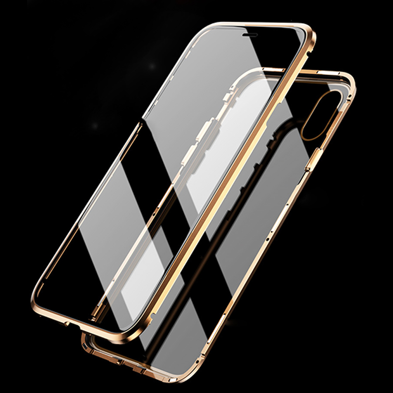 For iPhone X/XS/XS MAX/XR Case 360 Front+Back double-sided Tempered Glass Magnetic Adsorption Metal Case for iphone 7 8 plus iphone xr case magnetic