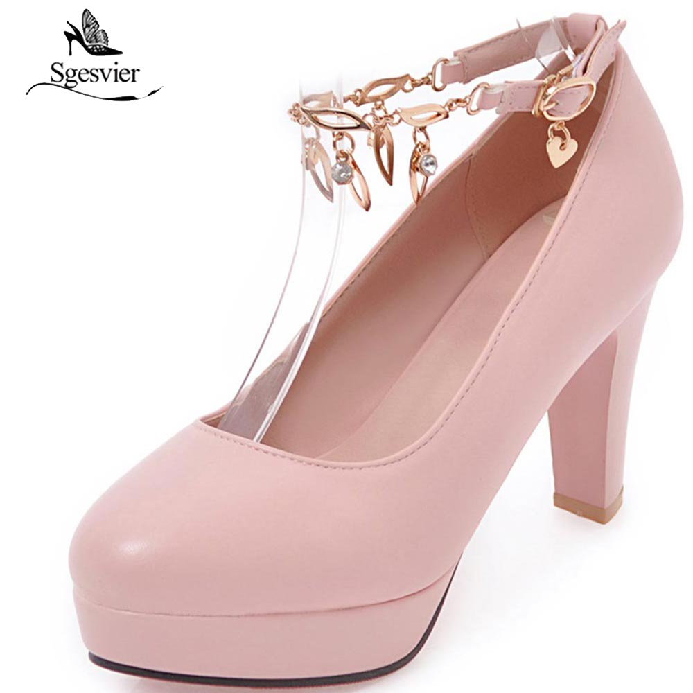 SGESVIER 2018 Sping New High Heels Women Pumps Fashion Thick Heel Shoes Woman Sexy Wedding Party Shoes Black Pink White OX207 [saziae] red bottom high heels women pumps glitter high heel shoes woman sexy wedding party shoes gold black female sexy pumps