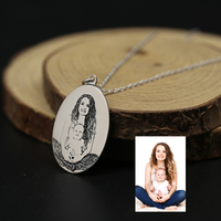 Personalized Photo Necklace Engraved Picture 925 Solid Silver Oval Necklace Custom Photo Memory Baby New Mom Necklace Keepsake