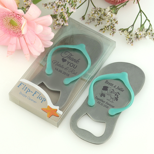 ff5a2417afa902 20x Personalized Flip Flop Bottle Opener Beach Themed Wedding Bridal Shower  Party Favor Personalized Wedding Thong