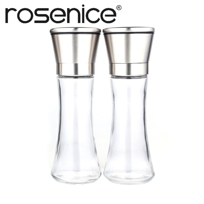 ROSENICE 2pcs Premium Stainless Steel Mills Salt and