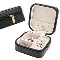 LELADY 10 10 5cm Jewelry Box Solid Zipper Leather Storage Organizer Jewelry Box Portable Travel Jewelry