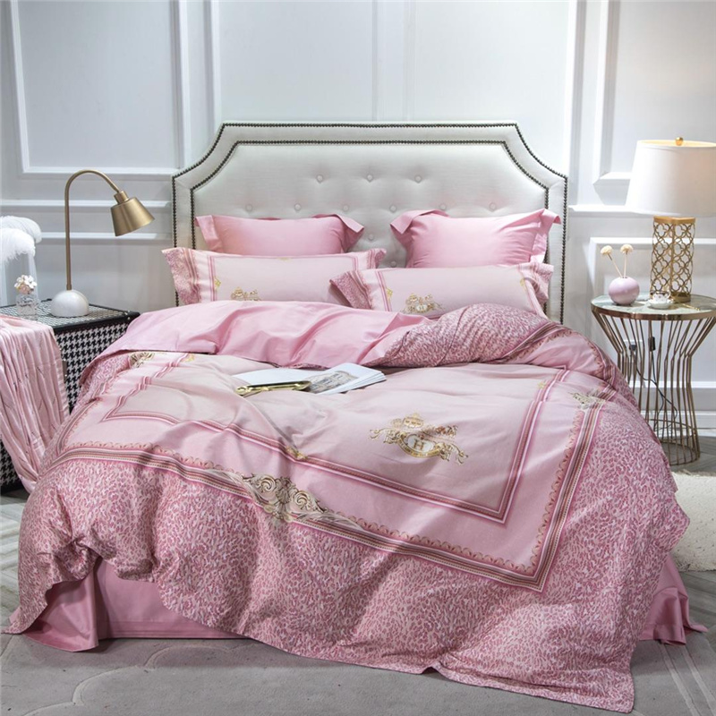 Luxury Egypt Cotton digital printing palace Bedding Set pink Leopard Duvet Cover Sets Bed Sheet Pillowcases Queen King Size 4PcsLuxury Egypt Cotton digital printing palace Bedding Set pink Leopard Duvet Cover Sets Bed Sheet Pillowcases Queen King Size 4Pcs