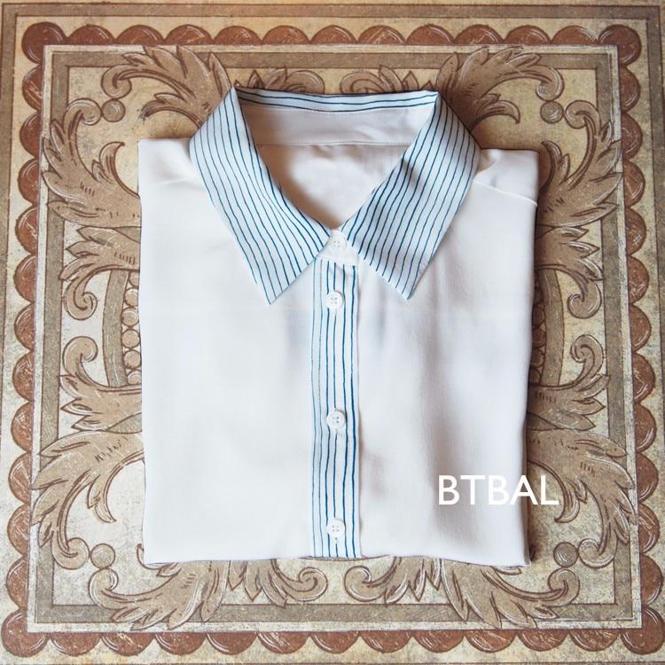 EQ 100% vraie soie blanc rayé patchwork dames à manches longues chemise EQ femmes blouse
