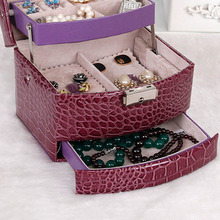 3 Layers Portable Jewelry Box With Drawers Necklace Case Lock And Key Makeup Mirror PU Leather Shipping From Russia